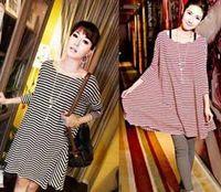 Revisiones Fashion skirts-La moda de maternidad vestidos de verano vestido de falda de tops de rayas camiseta corta sin mangas de las mujeres Embarazadas camisa suelta #9744