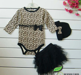 Autumn girls leopard 3pcs sets long sleeved romoers girls tutu skirt dress infant headbad baby hats