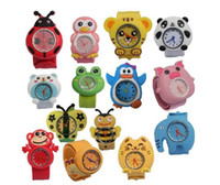 Fashion watch slap - Silicone Lovely Animal Slap Snap Watch Multi styles Cartoon Children Wristwatch DHL best price best2011