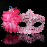 Wholesale Party Masks Halloween Masquerade Masks Deluxe Feather Lily Dance Mask For Women Cosplay Hollow Queen Mask