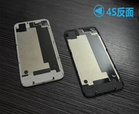 Wholesale Back Glass Battery Housing Door Back Cover Replacement Part with Flash Diffuser for iphone S black white