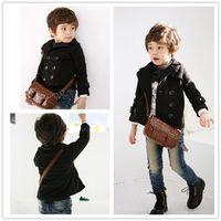 Wholesale Autumn Winter Korean Kids Clothes Double breasted Black Short Children s Fashion Boy Small Suit Lapel Jacke Coat EMS