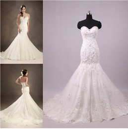 Wholesale Custom made New Sexy luxurious ruffles lace beaded mermaid sweetheart Wedding dress W349