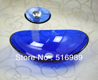 Wholesale Blue Hand Paint Washbasin Tempered Glass bath Basin Sink With Brass Faucet Q