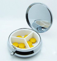 metal pill box - Round Metal Pill Organizer Box of Medicine DIY Silver Color Boxes Free Ship