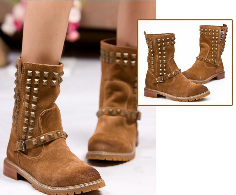Women Leather Boots Short Rivet Boots Knight Cowboy Boots Wide ...
