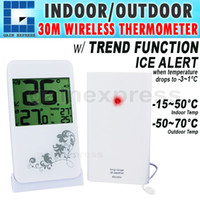 Wholesale AOK Digital Indoor Outdoor Wireless Temperature Thermometer M Distance Transmission amp Trend Function Clock