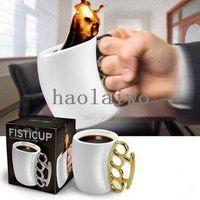 ECO Friendly white mugs - 50pcs DHL New Fisticup Large Knuckle Duster Porcelain Mug White amp Silver Porcelain coffee mug
