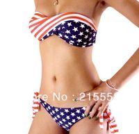 Polyester As Photo USA American Flag Bikini New Arrival Sexy USA Flag Bikini For Women Girl Swimwear Padded Swim Suit Free Shipping ZG24
