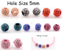 Red shamballa beads - NEW DIY Big Hole Crystal Disco Ball Shamballa Beads Spacer Loose Beads for Leather Bracelet Mix Colors ZBE90