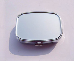 Wholesale X Pill box Metal Blank Rectangle Pill Container Silver Color