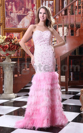 Wholesale 2013 Sexy Prom Dresses Mermaid Pink Sweetheart Neckline Beaded All Around And Feathers Evening Gowns Real Image Z0133