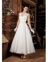 Wholesale 2014 Designer Luxury High Neckline Short Informal Bridal Wedding Dress Gowns Lace Ankle Length Brides Dresses Gown