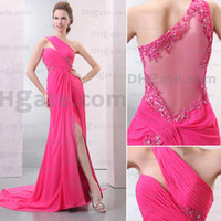 Wholesale Pretty Lace Bridesmaid Dresses Custom Made Jewel Lace One Sleeve Floor length Side Slit Chiffon Empire Waist Party Gown Cocktail