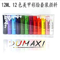 Pinks Gradient 12 Free shipping -12 Colors Pro Acrylic Paint Nail Art Polish 3D Paint Decor Design Tips Tube Set # 321