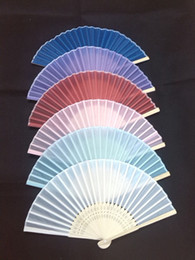 Wholesale Bridal Wedding Fans Ladies Hand Fans Handmade Solid Color Bamboo and Cloth Fans Folding Fans Advertising and Promotional Fans
