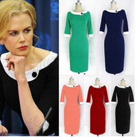 Wholesale 2014 Formal Pencil Vintage Womens Pinup Rockabilly Colorblock Bodycon Stretch Shift Wiggle Pencil Dress S M L XL