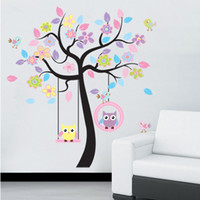 Removable owl decor - vinyl wall stickers sheets set Colorful tree and owls Tree home decor Giant wall decals for kids rooms