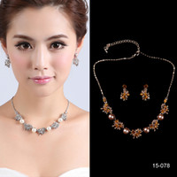 Wholesale 15 A B Women s Girl s Crystal Diamond Prom Pearl Cocktail Homecoming Party Bridal Gown Wedding Dress Necklace Earrings Jewelry Sets