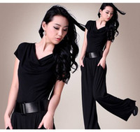 Wholesale Summer New Loose Short sleeve Jumpsuit European and American Big Yard Wide legged Pants Jumpsuits c601