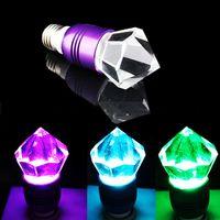 Wholesale NEW PRICE E27 V W Crystal LED RGB Glass Diamond Color Change LED Light Bulb Lamp IR Remote Control DHL