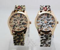 Red leopard watches - HIGH QUALITY Geneva Leopard Watch Rubber Belt Steel Women Men s Fashion Wristwatch Silicone Quartz watch