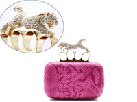 Wholesale Punk Style women s evening bags rhinestone leopard handle snakes PU leather clutch dinner bag wedding purse