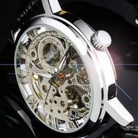 Wholesale SG post or HK post winner brand silver tone Skeleton Hand winding Mechanical Mens men watch leather band