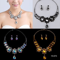 Modern aqua cocktail - 15 Silver Black Geometric Women s Girl s Crystal Prom Cocktail Homecoming Party Bridal Gown Wedding Dress Necklace Earrings Jewelry Sets