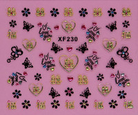 Wholesale Girls beauty nail supplies D nail decals heart rose shapes Nail Art Sticker XF230 XF241 t5553