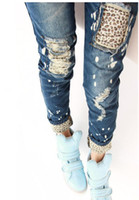 Wholesale Women s Lady s Leopard Jeans Retro Wearing Holes Pencil Jean Thin Jeans Blue Gift
