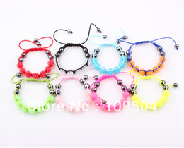 new cheap fluorescence candy neon color shamballa bracelet resin crystal disco ball beads bracelet bangle wholesale zb59 - Buy Candy By Color