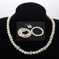 Wholesale Wedding Dress Necklace Earring Party Jewelry Set Bridal Three piece Pearl Necklace Earring Bracelet Set JN04011