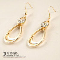 Wholesale EVBEA New Hot Gold Plated Glass Crystal Big Hook Circle Earrings for Woman