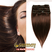 Wholesale Cheap remy indian full head clip in on human hair extensions inch Color dark brown