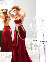 Wholesale 2014 Sexy Sweetheart Chiffon burgundy Prom Dresses Runway Gold Embroidery Crystals Arabic Evening Dresses
