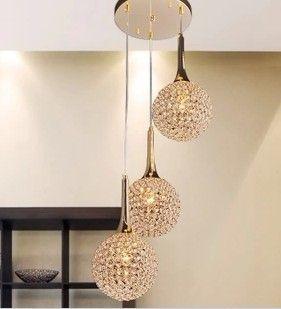 Simple Modern Gold Crystal Pendant Lamp Art Chandelier Living Room Restaurant Dining Round Shaped Design 3L Rystal Ceiling Online