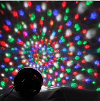 Wholesale Newest mix colors Mini W DMX Voice activated RGB LED Crystal Magic Ball Effect light Disco DJ Stage Party Lighting US plug MP MX11