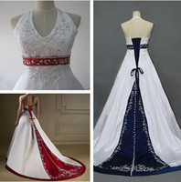 Wholesale Fashion Royal Blue Red And White Beaded Embroidery Wedding Dress A Line Strapless V neck Court Train Satin Bride Gown