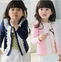 Wholesale Girls Sweet girls casual yarn lace collar round neck cardigan jacket children lhq
