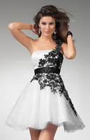 Wholesale 2013 New Prom Dress One Shoulder With Black Lace Rufflel Short Mini Cocktail Dress hsc