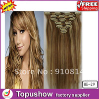 Wholesale 12 g quot set Brazilian Virgin Human Curly Clip Hair Extensions Queen Hair Products HE