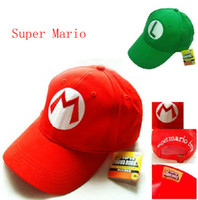 Wholesale 2pcs green L red M Super Mario baseball hat cap Cosplay Hat super mario hat super mario cap