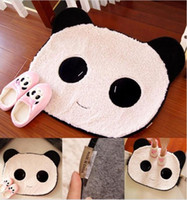 Cotton and Acrylic bedroom carpet tiles - Cute sweet Black White Rug Panda Bear Face Doormat Mat Pad Small Carpet tile