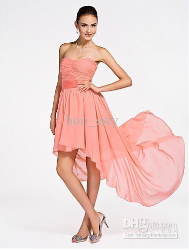 Coral High Low Bridesmaid Dresses Chiffon Sweetheart Zipper Ribbon ...