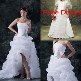 Wholesale Festival Hi Lo Bridal Gown Beading Crystal Gorgeous Wedding Dress DH003754Buy One Get One Free