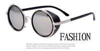 al por mayor redondo de color negro enmarcada gafas de sol-2013 nuevas lente de Sunglass del espejo del negro del capítulo del metal de las gafas de sol de los hombres de las mujeres de la manera nueva