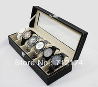 Wholesale Leather Skylights Grid Watch Display Case Box Jewelry Storage Organizer Black