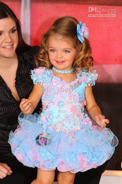 Wholesale Lovely mini cupcake girl dress hand made flower beads crystals appliques colorful pageant dress girl s formal occasion dress best girl dress