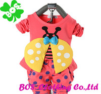 Wholesale 2013 New arrival children s Clothing Sets The beatles pattern circle dot cotton coat pants baby boy kid girl clothes